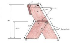 Easy Bench Plans - This outdoor furniture bench is an easy outdoor bench to build.