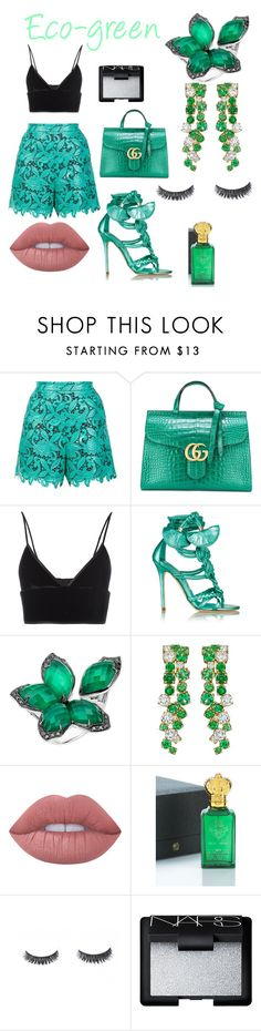 """""""Eco-green Look"""" by rea-godo ❤ liked on Polyvore featuring MSGM, Gucci, T By Alexander Wang, Brian Atwood, Stephen Webster, Lime Crime, Clive Christian and NARS Cosmetics"""
