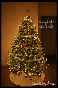 christmas tree, silver & gold