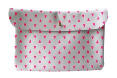 Image of Clutch- White Leather with Pink Triangles