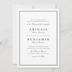 Black And White Wedding Invitations, Wedding Invitation Size, Monogram Wedding Invitations, Minimalist Wedding Invitations, Classic Wedding Invitations, Wedding Envelopes, Elegant Wedding Invitations, Invites