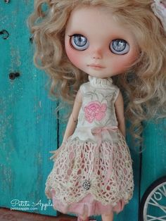 """Blythe doll outfit  """"Précieux"""" grunge chic vintage embroidered dress - silk by marina, $65.00 USD"""