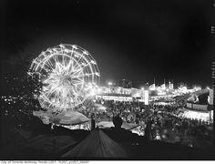 Toronto, CNE midway at night, 1952