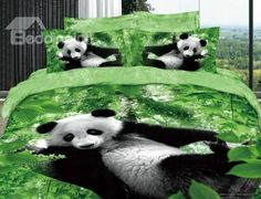 New Arrival 100% Cotton Ink Painting Kung Fu Green Panda 4 Piece Bedding Sets