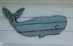 Whale Art/Wooden Whale/Beach House Wall ~by My Honeypickles