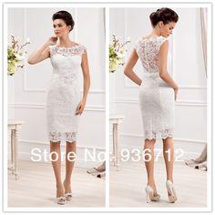 2017 New Designer Elegant Scoop Neckline Sheath Lace Short Wedding Dresses Sf01433 95 00