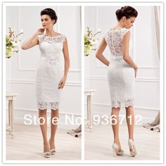 2014 New Designer Elegant Scoop Neckline Sheath Lace Short Wedding Dresses SF01433 $95.00