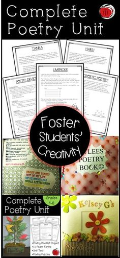 Everything you need to help your students explore the world of poetry. This fun, engaging poetry unit will allow your students to be creative while learning! Low prep and easy to follow. Perfect for grades 4 - 8. Created by TchrBrowne / Terri's Teaching Treasures #Poetry #MiddleSchoolPoetry Teaching Activities, Teaching Tools, Teaching Resources, Teaching Ideas, Classroom Resources, Classroom Ideas, Teaching Poetry, Teaching Reading, Learning
