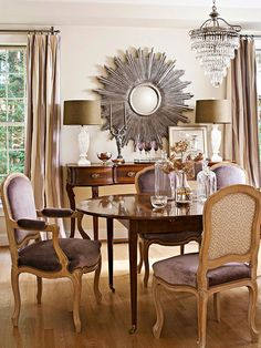 An antique sideboard and dining table set the stage for elegant meals in the dining room: http://www.bhg.com/decorating/decorating-style/flea-market/flea-market-home/?socsrc=bhgpin052914fleamarketdining&page=5