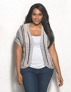 9a4bd35765f Plus Size Textured Striped Short Sleeve Cardigan