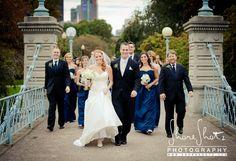 Wedding party taking over the bridge @ the Boston Commons