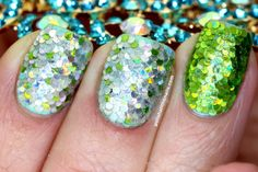 Polish All the Nails: Real Mermaid Scale Nails with Lime Green Overlapping Glitter