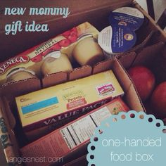 Perfect gift for a new mom! Healthy, easy to eat snacks that can be made and eaten with one hand. So many people bring full meals, so this is a great, much appreciated alternative. Here's a list of nutritious foods to include! New Mommy Gifts, Gifts For New Moms, Full Meals, Freezer Meals, Fun Gifts, Craft Gifts, Baby Shower Gifts, Baby Gifts, Meal Train