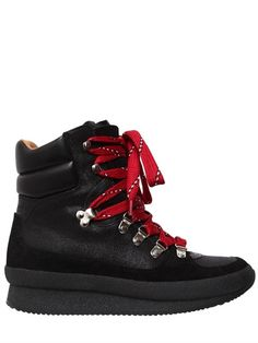 ISABEL MARANT - 50MM BRENDTY LEATHER HIKING BOOTS - BOOTS - BLACK - LUISAVIAROMA - 50mm Platform heel . Metal D-rings and hooks . Padded collar. Rubber sole