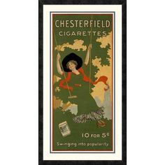 Global Gallery 'Chesterfield Cigarettes' Framed Vintage Advertisement Size:
