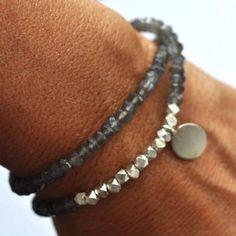 Vivien Frank Designs Gray Moonstone friendship bead bracelet