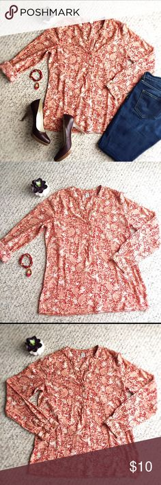 """Old Navy Women Long Sleeve Printed Blouse Size S Old Navy women long sleeve printed blouse size S. Lightweight top with buttons halfway down. Red, pink, white, and beige colors. Approximately 26"""" length, 19"""" width, and 24"""" sleeve's length. 100% cotton. Excellent condition. Old Navy Tops Blouses"""
