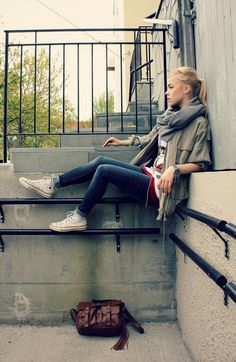 Great 2014 Spring transition look...White high top converse, infinity scarf, cool tee & jacket. Except switch the rolled jeans for either straight legged cropped jeans or long jeans with unfinished hem