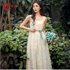 Spring and summer formal sweet gentlewomen white lace organza embroidery expansion bottom long one-piece dress princess dress