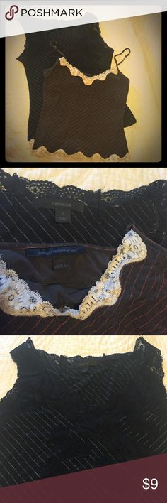 2 Express Pin stripe with lace tanks / camisole Black with black lace & brown cream lace with orange pinstripe . Both size large . They are stretchy ,  , says large, fit more like med.  . Both in good condition .brown has built in bra.  93% rayon 7% spandex. Express Tops Camisoles