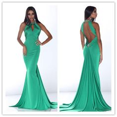 2014 New green sheath scoop sleeveless and backless with beading long stain Prom Dress custom-made  FSL-033 $109.99