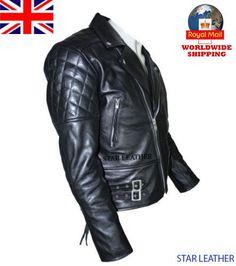 Uk Stock Men's Brando Vintage Motorcycle Classic Biker Black Real Leather Jacket | Clothes, Shoes & Accessories, Men's Clothing, Coats & Jackets | eBay!