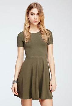 Olive Colored Fit & Flare Tee Dress | Forever 21