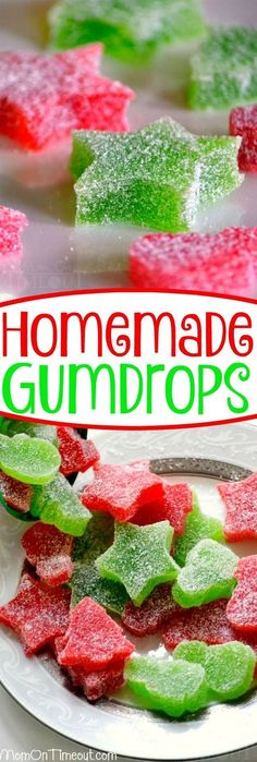 These Homemade Gumdrops are the perfect treat to make for friends and family during the holidays! Just a handful of ingredients including applesauce, and you're on your way to a perfectly sweet treat! // Mom On Timeout #christmas #candy #recipe