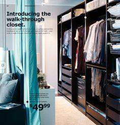 Walk-through closet idea from IKEA. IKEA USA catalog, page 40.
