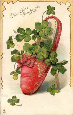 NEW YEAR GREETINGS  red slipper, shamrock leaves