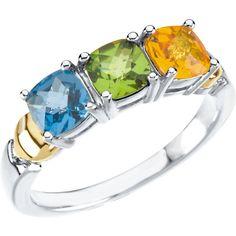 14kt White & Yellow 1 Stone Ring for Mother | Stuller