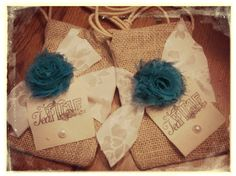 burlap tea favors/ bridal shower / tea party / wedding / baby shower