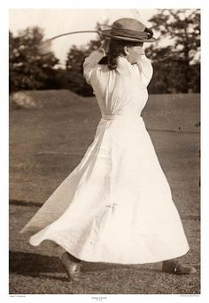 Long Sleeves and Long Skirts. Look at the finish. Tennis Pictures, Vintage Golf, Long Skirts, Golf Outfit, Female Form, Swings, White Dress, Photoshoot, Costumes