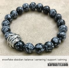 Snowflake Obsidian helps to draw emotions to the surface and to examine harmful thought patterns. A good choice for past life work, Snowflake Obsidian heals old karmic patterns and helps in examining harmful thought patterns......Yoga Bracelets. Men Women. Beaded Prayer Mantra Spiritual Mala. Snowflake Obsidian Twine.