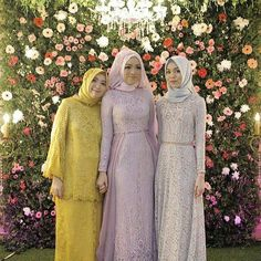 We have hijab dress inspiration for you all! 3 dresses, 3 different styles! Kebaya Hijab, Kebaya Dress, Kebaya Muslim, Hijab Dress, Muslim Wedding Dresses, Bridal Dresses, Bridesmaid Dresses, Street Hijab Fashion, Muslim Fashion