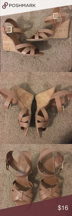 Tan Wedges Worn a few times, still in great shape! Size 6, 4 inch heel. Shoes Wedges