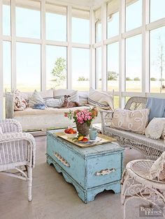 Sunroom windows - Employ an old trunk as a coffee table, and you'll get two for the price of one. Not only is it a coffee table, it's the perfect storage spot for stashing blankets, games, and living room extras. Sunroom Furniture, Wicker Furniture, Shabby Chic Furniture, Vintage Furniture, Painted Furniture, Furniture Ideas, Furniture Stores, Modern Furniture, Furniture Refinishing
