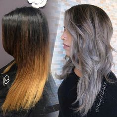Repost from @hairbylily408 4 sessions to get to this. Used @kenraprofessional #kenrametallics line to tone. Roots: 7vm + 1b  Mids: 8sm  Ends: 10sm+9Vm + drop of violet.  #MetallicObsession #KenraColor