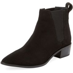 Seychelles Women's Marquee Suede Chelsea Bootie - Black - Size 6 found on Polyvore featuring polyvore, women's fashion, shoes, boots, ankle booties, black, black suede boots, black suede ankle booties, short black boots and suede booties