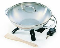 Stainless Steel Wok is the quick and easy way to prepare sizzling stir-fry meals! Luxurious stainless steel body and handles. Aluminum clad base for even heating. Tempered glass cover with stainless steel rim and handle. Specialty Appliances, Small Appliances, Kitchen Appliances, Kitchen Gadgets, Kitchen Items, Kitchen Stuff, Basic Kitchen, Kitchen Supplies, Woks For Sale