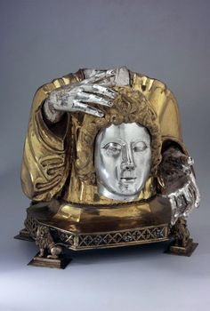 Reliquary bust. HeiligerJustus. In octagonal openwork foot plate which is supported by four lions. Silver, gold plated, copper plated. Around 1450 - 1500. Origin Church of St. Justus, Flums, Canton of St. Gallen.