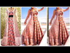 Diy :Convert Old Sari Into Frill Shrug/ Front open long jacket cutting and stichting Hindi Dress Neck Designs, Blouse Designs, Long Jackets, Frill Jackets, Long Shrug, Kalamkari Dresses, Diy Summer Clothes, Kurta Neck Design, Gowns With Sleeves