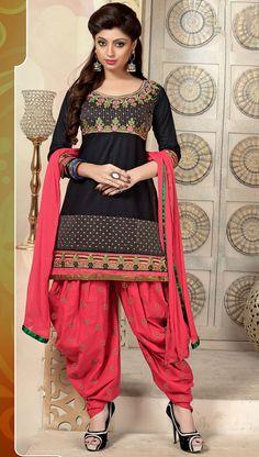 USD 37.55 Black Cambric Cotton Punjabi Suit 47273