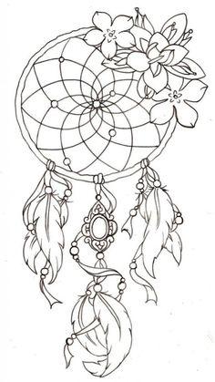 modele-tatouage-dreamcatcher-plumes-fleurs