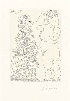 Pablo Picasso, Large Nude, Older Man and French Bulldog, from: Séries 347 1968