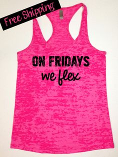On Fridays We Flex. Funny Fitness Tank Top by BlessonsApparel, $26.00 #fitnessfriday #workoutapparel #workout
