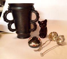 Large Brickhurst tyg, little plaster bear, couple of spoons, little John Maltby (to be verified) lidded box.