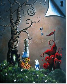 Alice In Wonderland art print by ERBACK fantasy fairy tale key queen of hearts castle whimsy tree White Rabbit