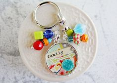 Family First Keychain | Purse or Lanyard Accessory from Etsy Store - Curios + Keys