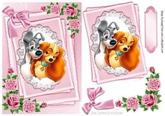 cute dogs cuddling on lace with pink roses   bow A5 on Craftsuprint - View Now!